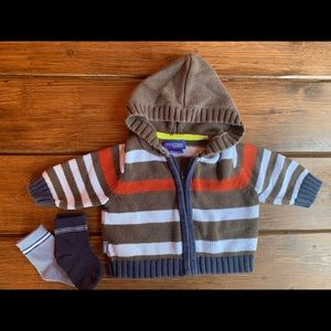 Genuine baby striped sweater and socks